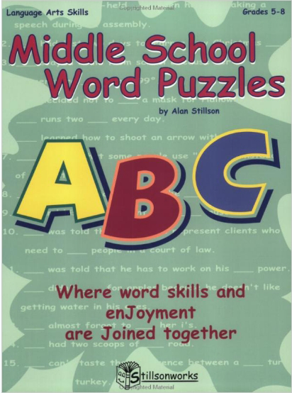 MIDDLE SCHOOL WORD PUZZLES