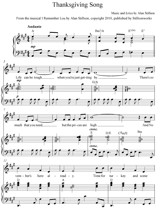 Thanksgiving Song - Sheet Music