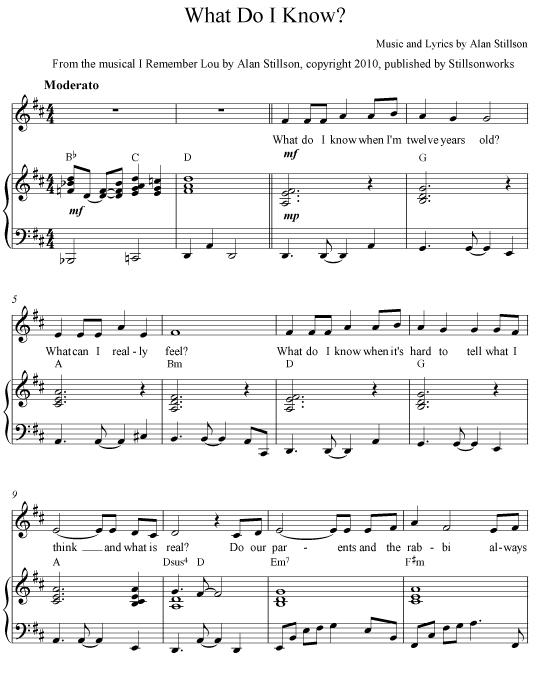 What do I Know - Sheet Music
